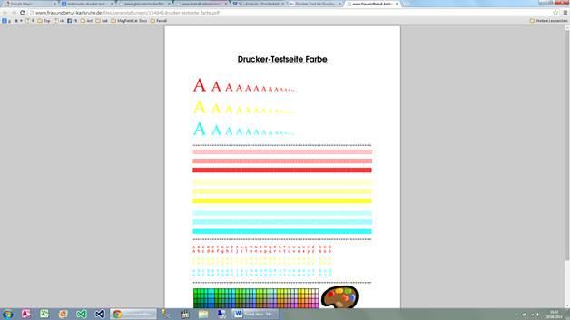 Farbmuster Farbmusterkarten drucken zum Testen des Druckers ...