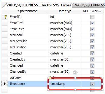 Access zugriff auf SQL-Server Tabellen mit einem Feld Timestamp ...