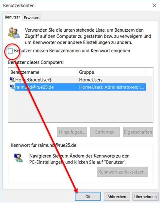 [gelöst] Windows 10 Anmeldung ausschalten, Login ohne