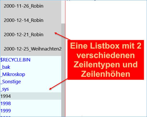 UWP Listbox Zeile in Zeilenhöhe und Farbe ändern