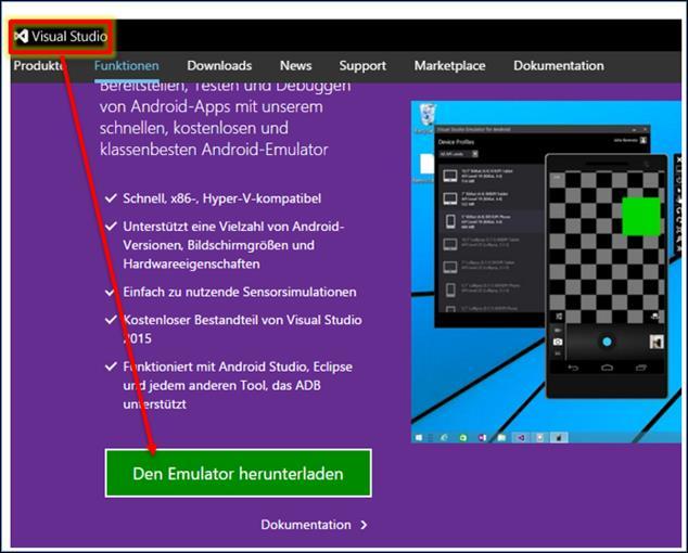 Visual Studio: Microsofts Android Emulator installieren nur auf