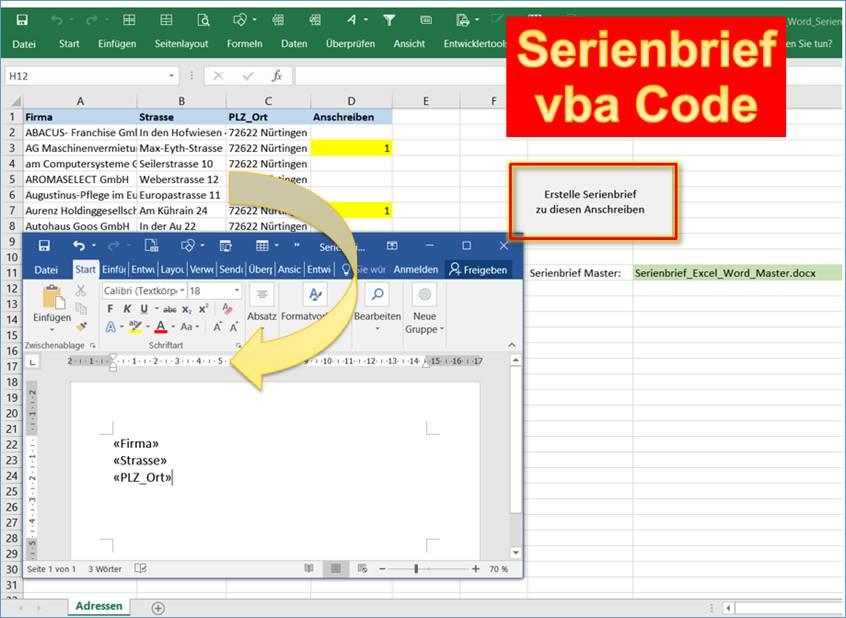 Excel Word Mit Excel Einen Serienbrief In Word Erstellen Per Vba