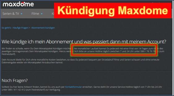 Kündigung Maxdome Vorlage Post und Fax @ codedocu_de Sonstiges