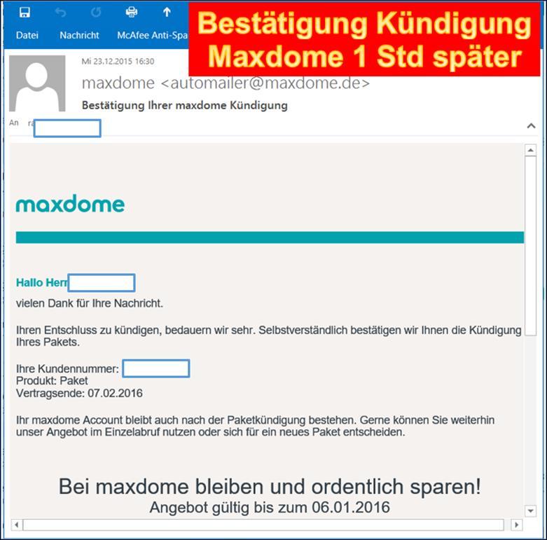Maxdome Kündigung Vorlage