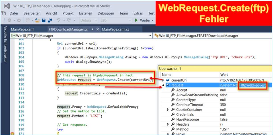 UWP: FTP webrequest uri Only http and https schemes are allowed