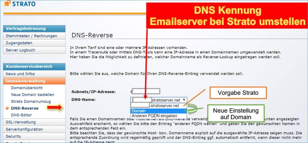 Strato Domain ändern dns eintragen in strato für mail server programmierer
