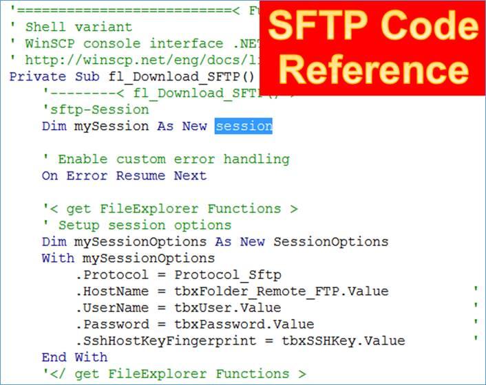 Access: Referenz zu SFTP Code Objekten