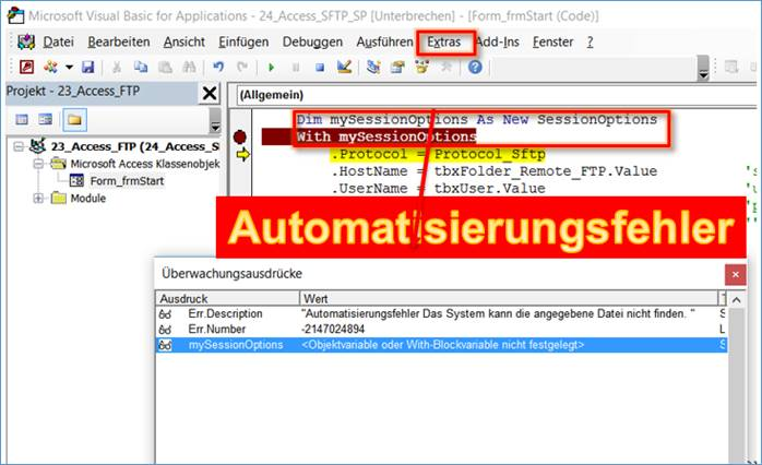 microsoft access error number and error description vba