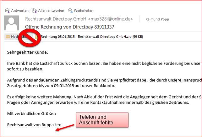 Schadhafte Email Rechnung Von Rechtsanwalt Direktpay At Codedocude Blog