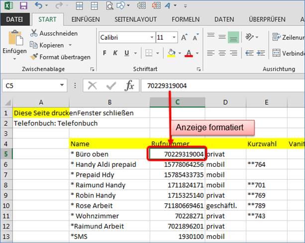 Formatieren von Zahlen in Excel Telefonnummer mit führender Null ...