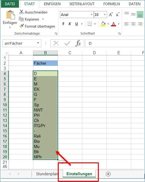 Stundenplan als Excel Vorlage @ codedocu_de Office 365