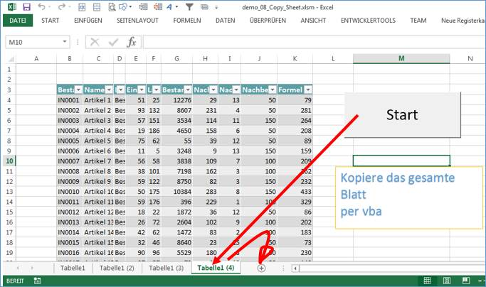 Excel Sheet kopieren per vba @ codedocu_de Office 365