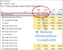 open Problem: Runtime Broker Task causes Windows 10 to run fans and memory loads -Change Windows.Store localCache