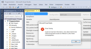 Visual Studio: Driver Testing Could not load test information.