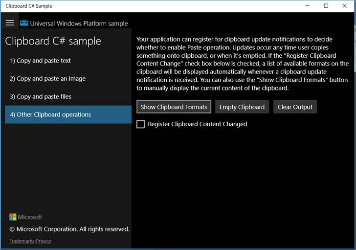 Windows 10 Sample: Clipboard @ codedocu_de Net Framework