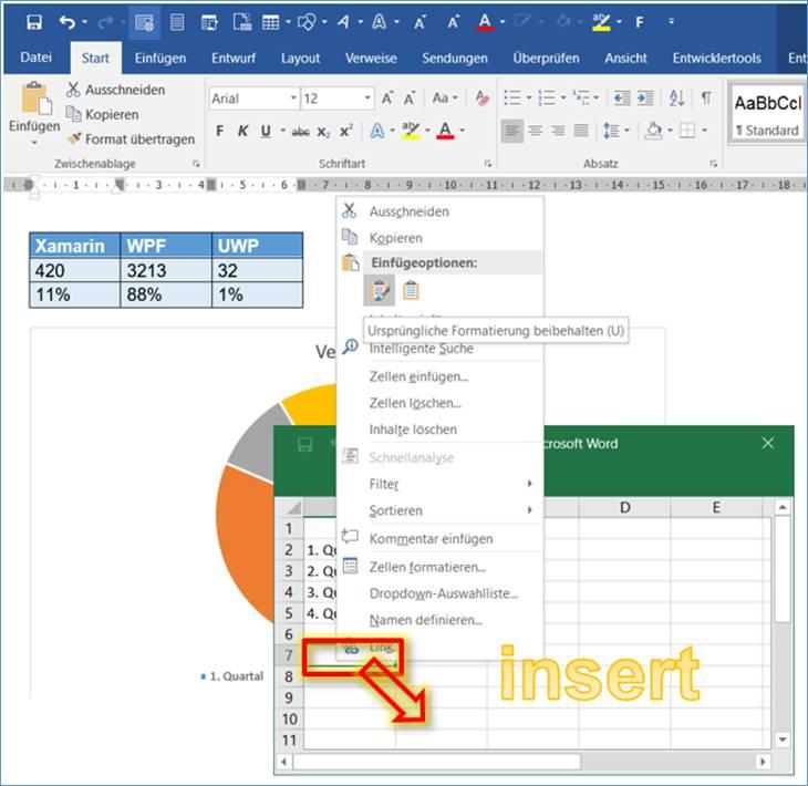 Word: Diagramm in Word einfügen @ codedocu_de Office 365