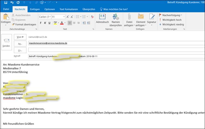 kann man per email kündigen