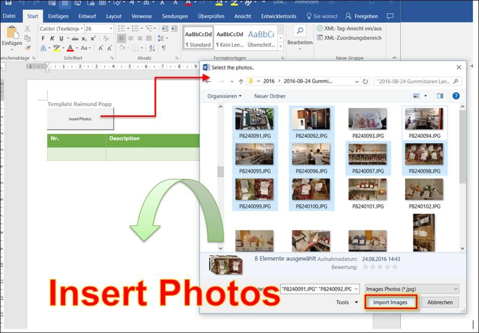 Word Vorlage: Fotos in eine Tabelle laden @ codedocu_de Office 365