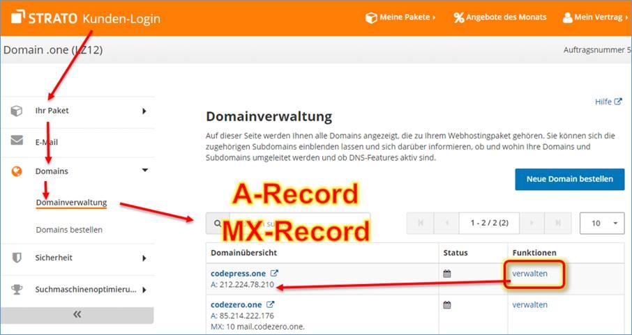 Strato Domain ändern web hoster redirect domain a zu b mit kompletter website url
