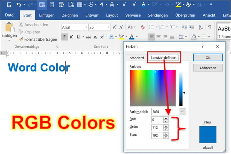 word office rgb werte einer farbe ermitteln codedocu de office 365. Black Bedroom Furniture Sets. Home Design Ideas