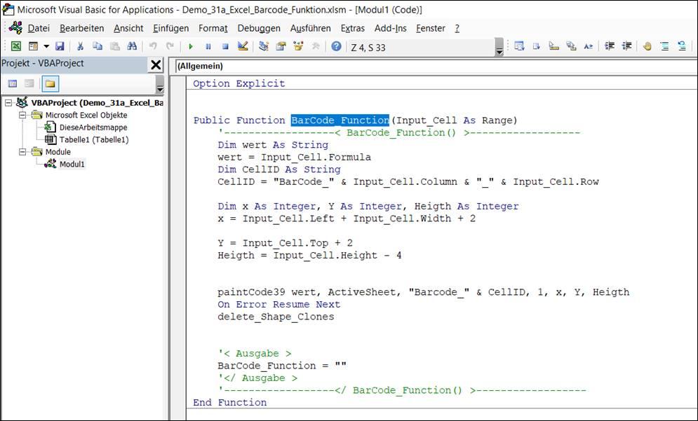 Excel : Barcode per Excel Makro Code in Zellen einfügen ...