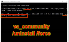 Visual Studio vs_community.exe force uninstall