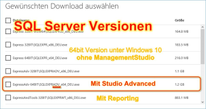 SQL Server Express:  Welche Version ? Advanced + WT wählen