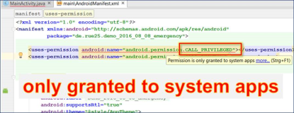 Android Developer: CALL_PRIVILEGED Permission is only granted to system apps