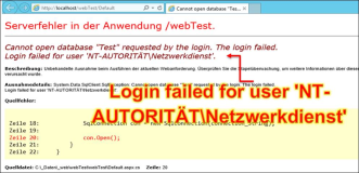 ASP.Net Fehler: Cannot open database, Login failed for user NT-AUTORITÄT\Netzwerkdienst
