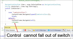 C# Fehler: Control cannot fall out of switch from final case label default