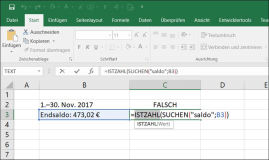 Excel: Text Like Funktion Vergleich-Formel