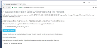 ASP.Net: A database operation failed while processing the request.