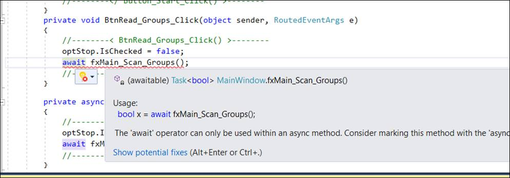 The await operator can only be used within an async method