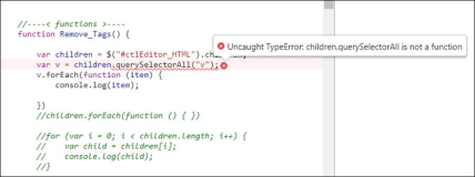 ncaught TypeError childrenSelectorAll is not a function