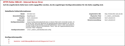 Server Error 500, Asp Net Core MVC  auf IIS