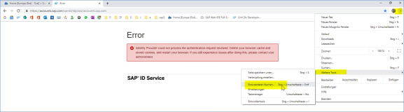 SAP Error: Identity Provider could not process the authentication request received