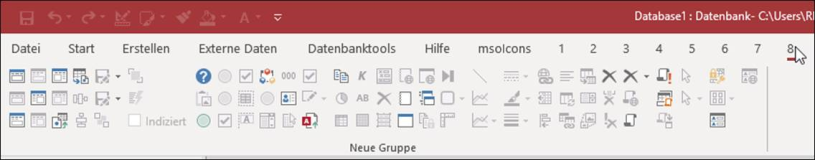 Liste Icons für die Ribbonbar in Microsoft Access Datenbank 4