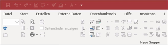 Liste Icons für die Ribbonbar in Microsoft Access Datenbank 5